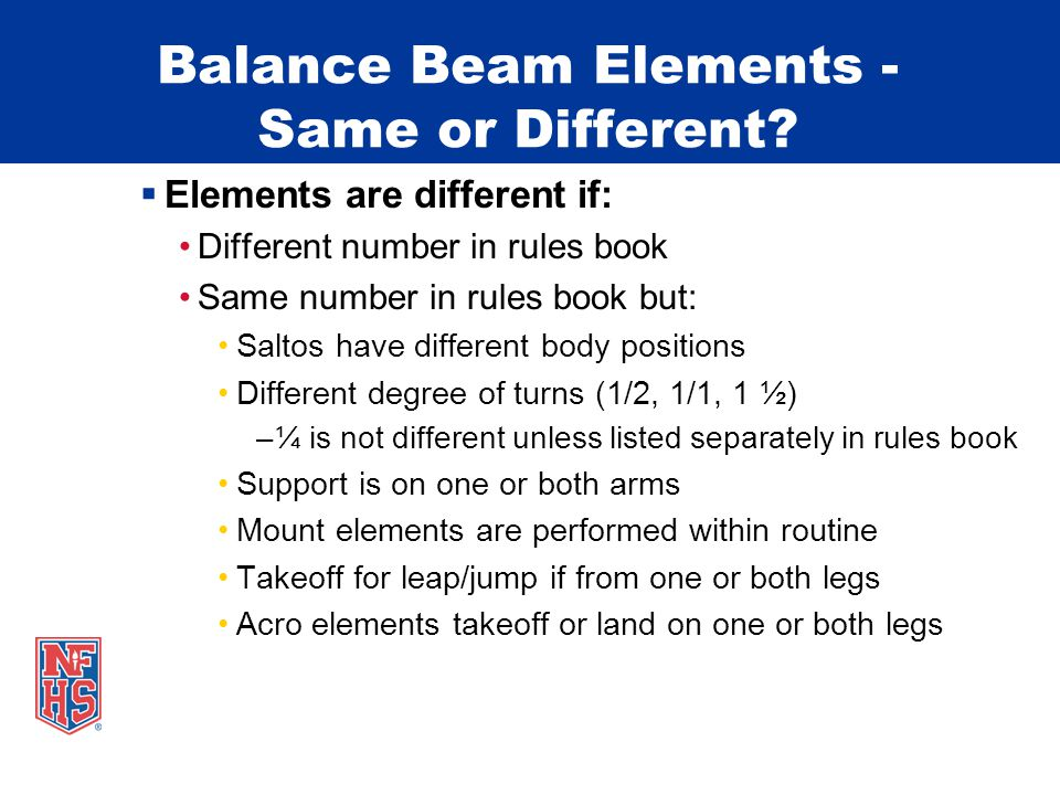 Balance Beam Elements - Same or Different.