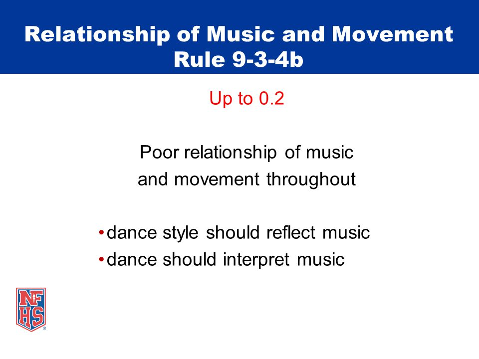 Relationship of Music and Movement Rule 9-3-4b Up to 0.2 Poor relationship of music and movement throughout dance style should reflect music dance should interpret music