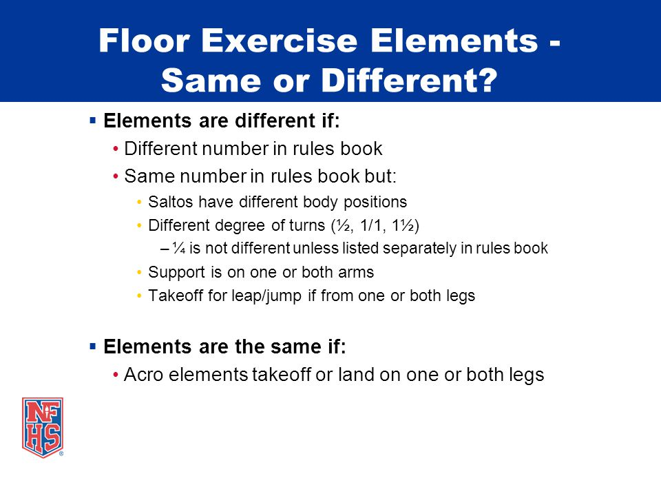 Floor Exercise Elements - Same or Different.