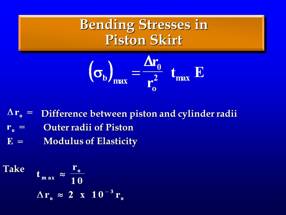 Bending Stresses in Piston Skirt Difference between piston and cylinder radii Difference between piston and cylinder radii Outer radii of Piston Outer radii of Piston Modulus of Elasticity Modulus of ElasticityTake