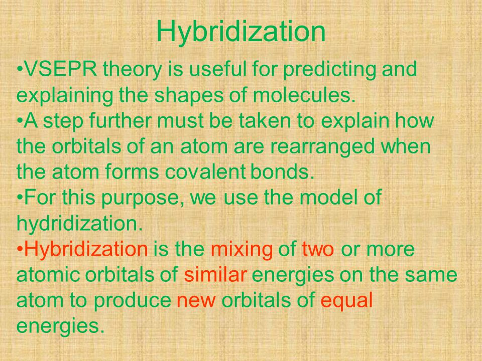 Hybridization VSEPR theory is useful for predicting and explaining the shapes of molecules. A step further must be taken to explain how the orbitals o