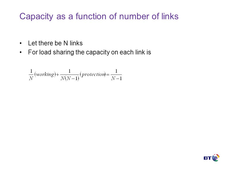 Capacity as a function of number of links Let there be N links For load sharing the capacity on each link is