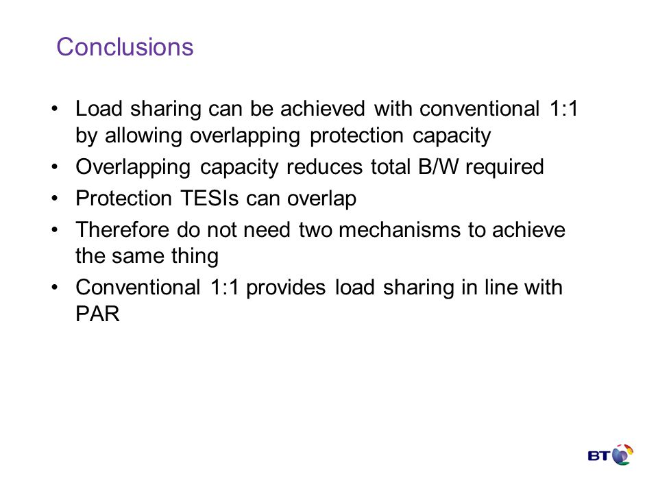 Conclusions Load sharing can be achieved with conventional 1:1 by allowing overlapping protection capacity Overlapping capacity reduces total B/W required Protection TESIs can overlap Therefore do not need two mechanisms to achieve the same thing Conventional 1:1 provides load sharing in line with PAR
