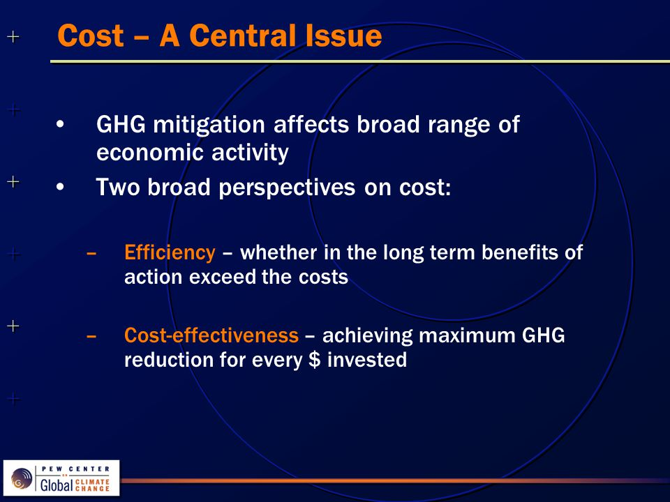 ++++++++++++++ ++++++++++++++ Cost – A Central Issue GHG mitigation affects broad range of economic activity Two broad perspectives on cost: –Efficiency – whether in the long term benefits of action exceed the costs –Cost-effectiveness – achieving maximum GHG reduction for every $ invested