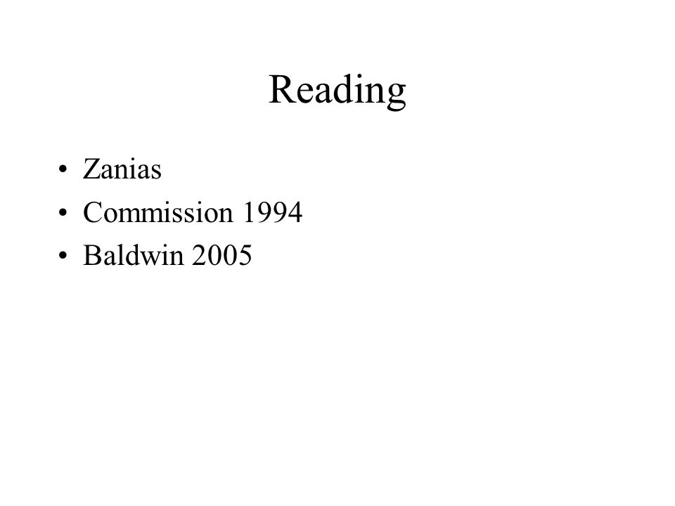 Reading Zanias Commission 1994 Baldwin 2005