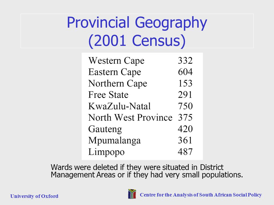 University of Oxford Centre for the Analysis of South African Social Policy Provincial Geography (2001 Census) Wards were deleted if they were situated in District Management Areas or if they had very small populations.