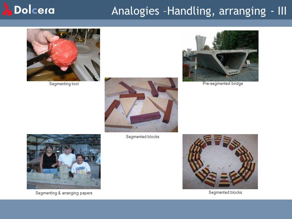 Segmented blocks Segmenting & arranging papers Segmenting tool Pre-segmented bridge Analogies –Handling, arranging - III