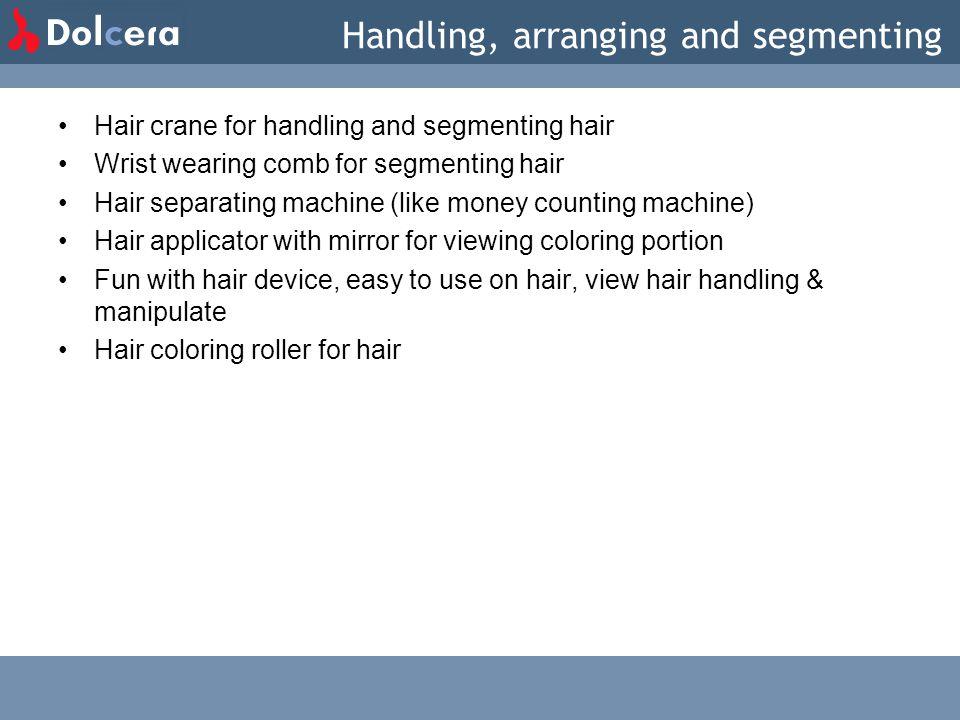 Handling, arranging and segmenting Hair crane for handling and segmenting hair Wrist wearing comb for segmenting hair Hair separating machine (like mo