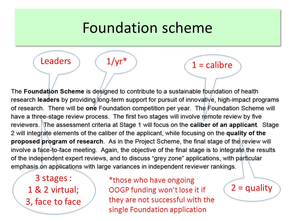 Foundation scheme Leaders 1/yr* 3 stages : 1 & 2 virtual; 3, face to face 1 = calibre 2 = quality *those who have ongoing OOGP funding won't lose it if they are not successful with the single Foundation application