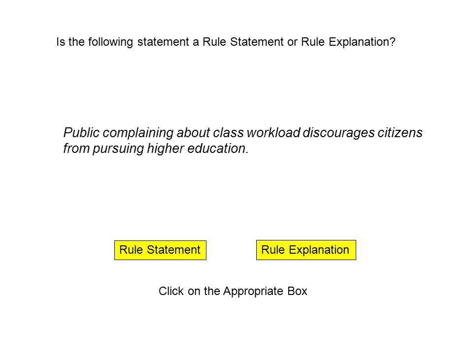 Rule Explanation Rule Statement Click on the Appropriate Box Workload includes all reading and written assignments.