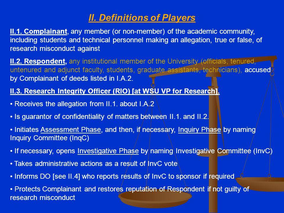 II. Definitions of Players II.1.