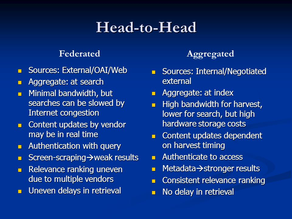 Head-to-Head Sources: External/OAI/Web Sources: External/OAI/Web Aggregate: at search Aggregate: at search Minimal bandwidth, but searches can be slowed by Internet congestion Minimal bandwidth, but searches can be slowed by Internet congestion Content updates by vendor may be in real time Content updates by vendor may be in real time Authentication with query Authentication with query Screen-scraping  weak results Screen-scraping  weak results Relevance ranking uneven due to multiple vendors Relevance ranking uneven due to multiple vendors Uneven delays in retrieval Uneven delays in retrieval Sources: Internal/Negotiated external Sources: Internal/Negotiated external Aggregate: at index Aggregate: at index High bandwidth for harvest, lower for search, but high hardware storage costs High bandwidth for harvest, lower for search, but high hardware storage costs Content updates dependent on harvest timing Content updates dependent on harvest timing Authenticate to access Authenticate to access Metadata  stronger results Metadata  stronger results Consistent relevance ranking Consistent relevance ranking No delay in retrieval No delay in retrieval FederatedAggregated