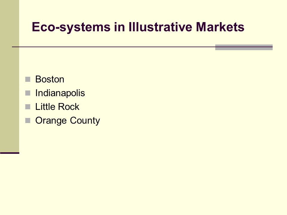 Eco-systems in Illustrative Markets Boston Indianapolis Little Rock Orange County
