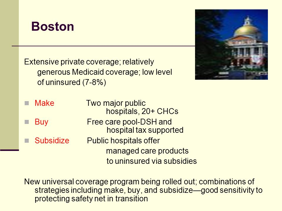 Boston Extensive private coverage; relatively generous Medicaid coverage; low level of uninsured (7-8%) Make Two major public hospitals, 20+ CHCs Buy Free care pool-DSH and hospital tax supported Subsidize Public hospitals offer managed care products to uninsured via subsidies New universal coverage program being rolled out; combinations of strategies including make, buy, and subsidize—good sensitivity to protecting safety net in transition