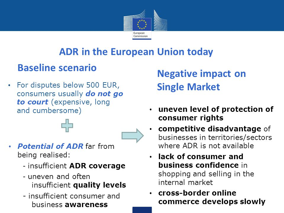 Access to ADR entities and procedures Harmonised high level of quality ADR awareness Establishment of a European online platform (ODR platform) for disputes arising from online sales or service contracts ( buy online – settle your dispute online ) ADR/ODR legislation: approach and impact ADR Directive ODR Regulation What the new legislation brings Indirect impact fast and cost-effective dispute settlement mechanisms consumer savings amount to EUR 20 billion even level of protection of consumer rights GROWTH higher productivity of European businesses GROWTH consumer and business confidence sustained level of consumption GROWTH