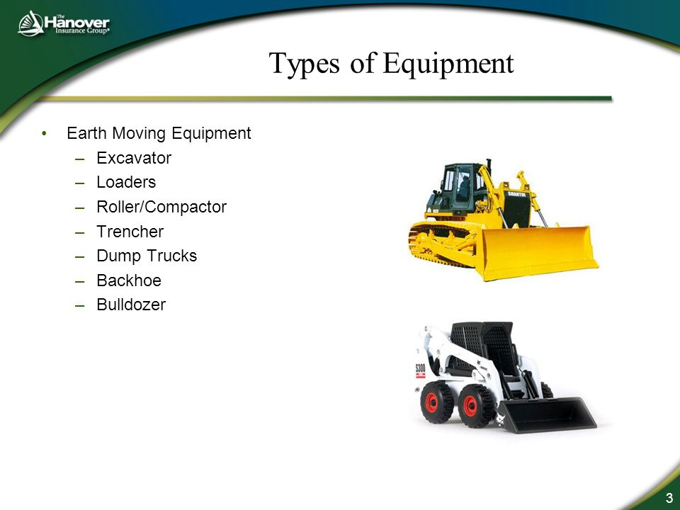 3 Types of Equipment Earth Moving Equipment –Excavator –Loaders –Roller/Compactor –Trencher –Dump Trucks –Backhoe –Bulldozer