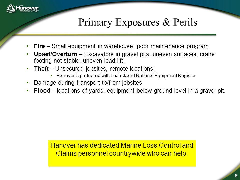 8 Primary Exposures & Perils Fire – Small equipment in warehouse, poor maintenance program. Upset/Overturn – Excavators in gravel pits, uneven surface