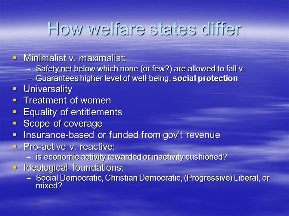 How welfare states differ  Minimalist v.