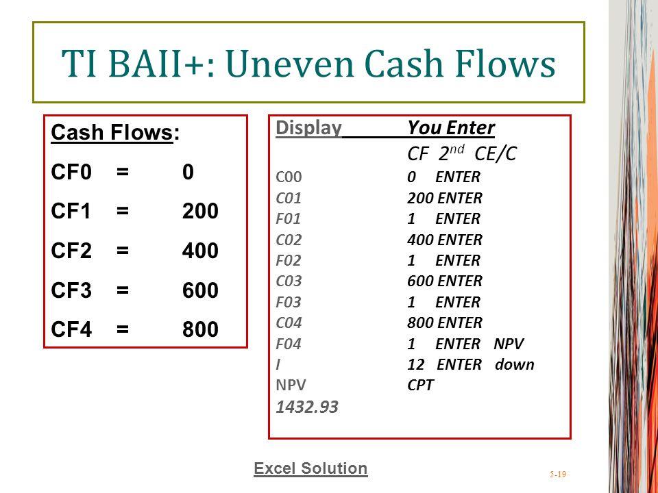5-19 TI BAII+: Uneven Cash Flows DisplayYou Enter CF 2 nd CE/C C000 ENTER C01200 ENTER F011 ENTER C02400 ENTER F021 ENTER C03600 ENTER F031 ENTER C04800 ENTER F041 ENTER NPV I12 ENTER down NPV CPT 1432.93 Cash Flows: CF0= 0 CF1=200 CF2=400 CF3=600 CF4=800 Excel Solution
