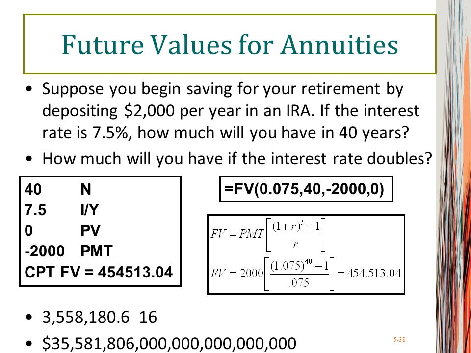 5-38 Future Values for Annuities Suppose you begin saving for your retirement by depositing $2,000 per year in an IRA. If the interest rate is 7.5%, h