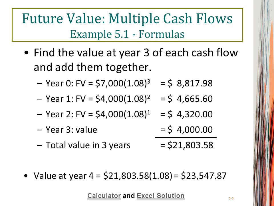 5-5 Future Value: Multiple Cash Flows Example 5.1 - Formulas Find the value at year 3 of each cash flow and add them together. –Year 0: FV = $7,000(1.