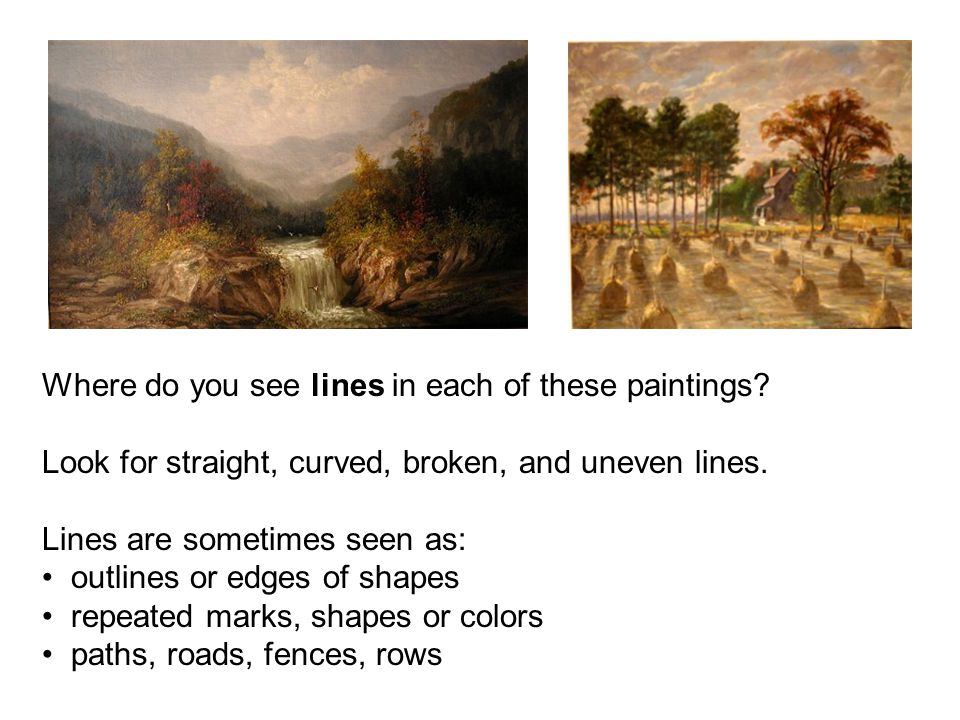 Where do you see lines in each of these paintings.