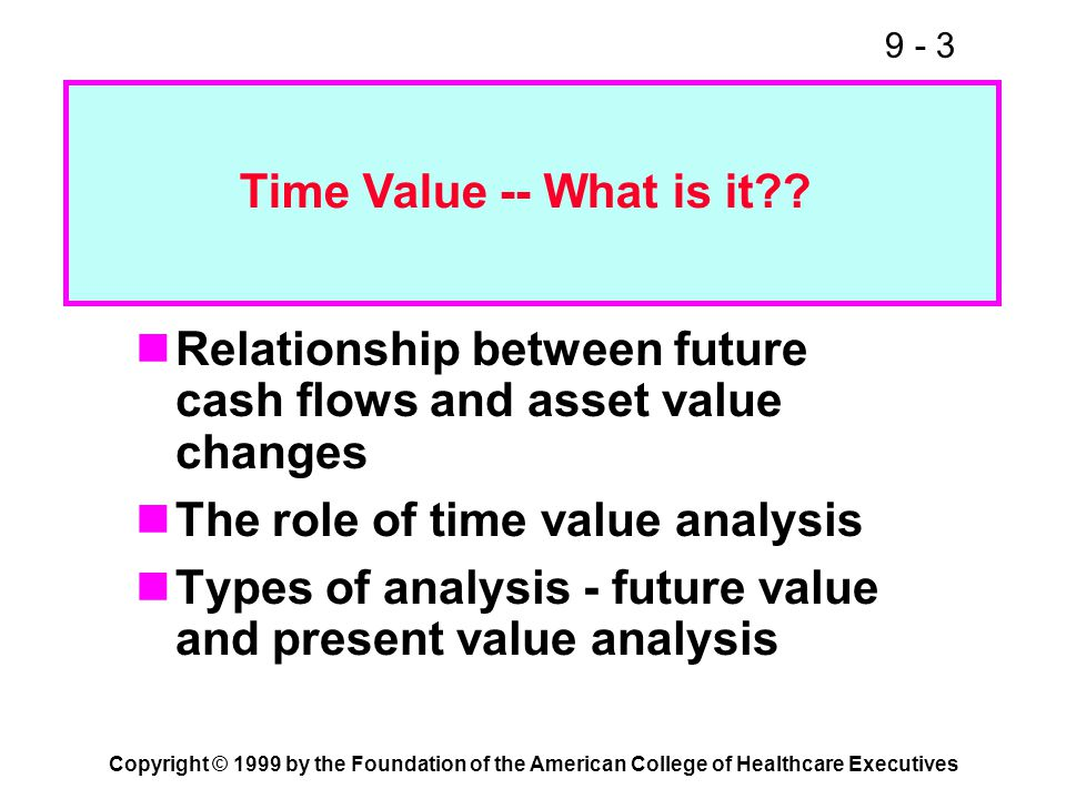 9 - 3 Copyright © 1999 by the Foundation of the American College of Healthcare Executives Relationship between future cash flows and asset value chang