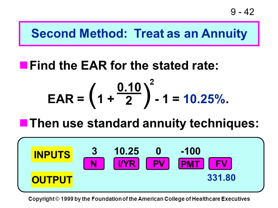 9 - 42 Copyright © 1999 by the Foundation of the American College of Healthcare Executives Second Method: Treat as an Annuity EAR = ( 1 + ) - 1 = 10.2