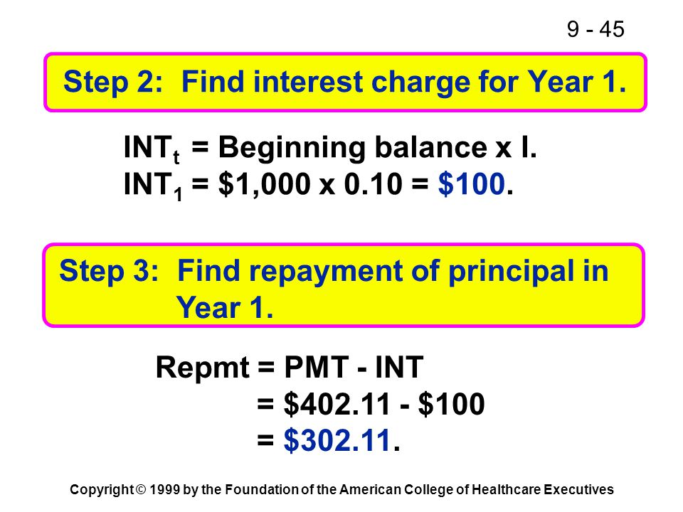 9 - 45 Copyright © 1999 by the Foundation of the American College of Healthcare Executives Step 2: Find interest charge for Year 1. INT t = Beginning