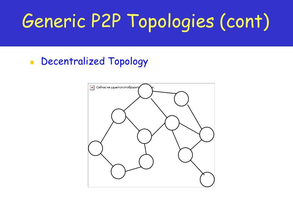 Generic P2P Topologies (cont) Decentralized Topology