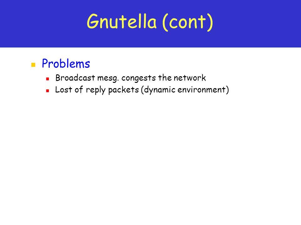 Gnutella (cont) Problems Broadcast mesg.