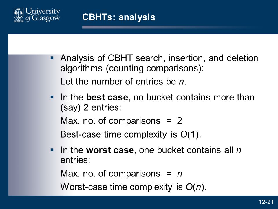 12-21 CBHTs: analysis  Analysis of CBHT search, insertion, and deletion algorithms (counting comparisons): Let the number of entries be n.