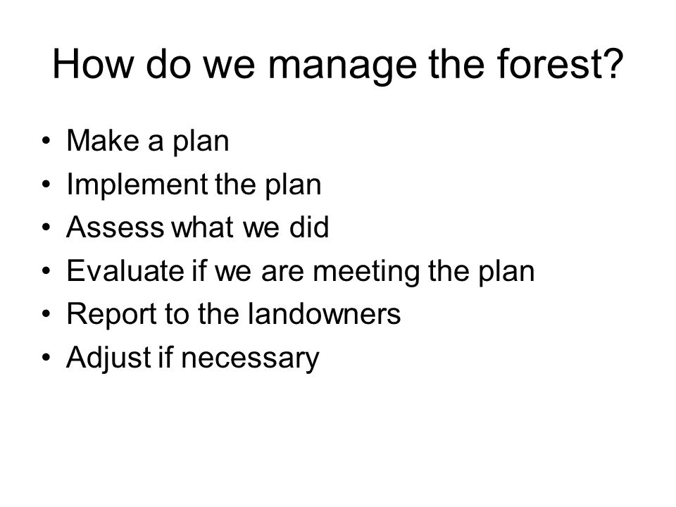 How do we manage the forest.