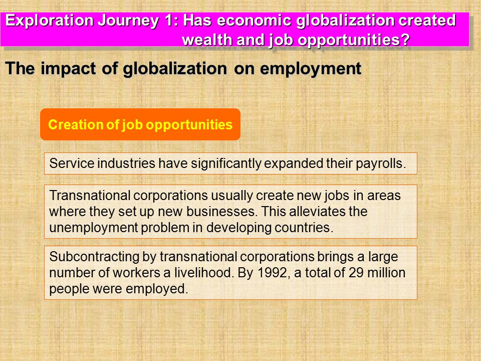 Creation of job opportunities Service industries have significantly expanded their payrolls.