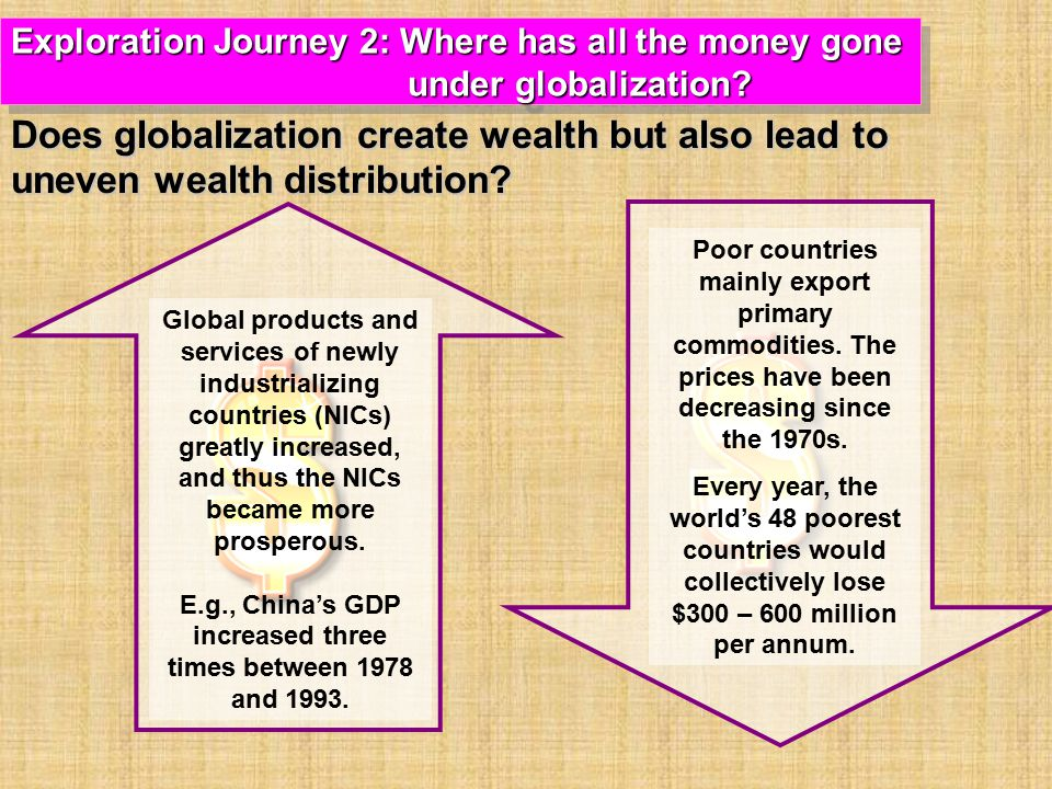 Global products and services of newly industrializing countries (NICs) greatly increased, and thus the NICs became more prosperous.