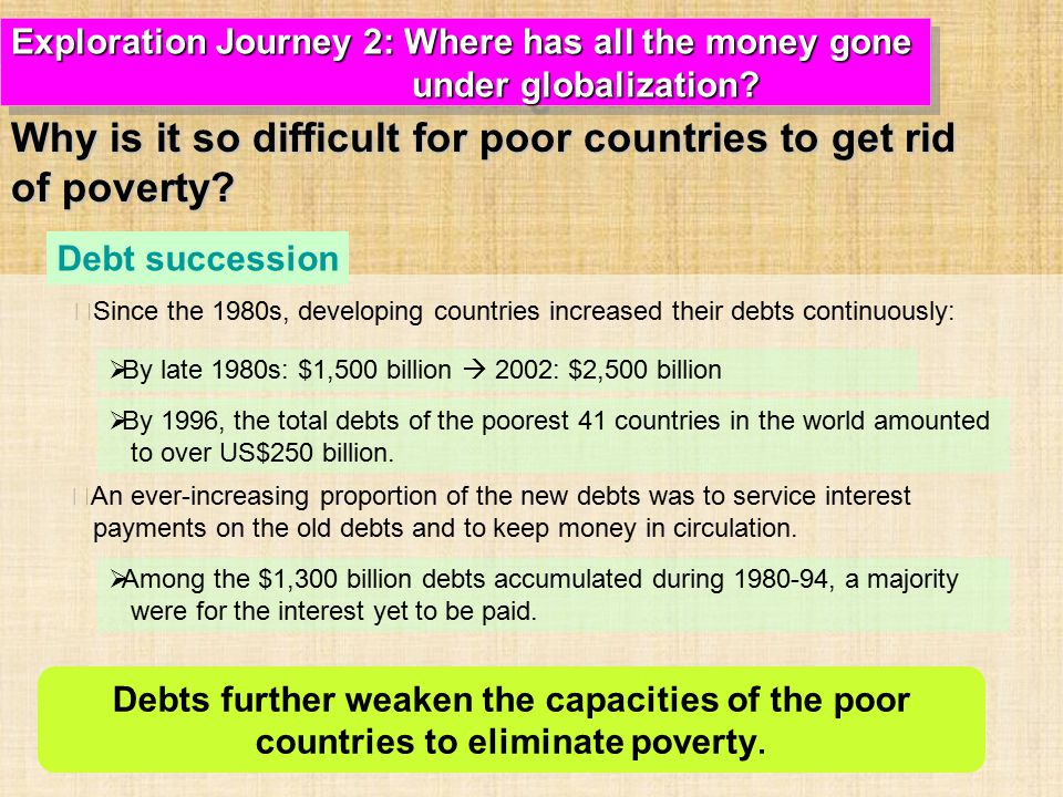 ‧ Since the 1980s, developing countries increased their debts continuously: ‧ An ever-increasing proportion of the new debts was to service interest payments on the old debts and to keep money in circulation.