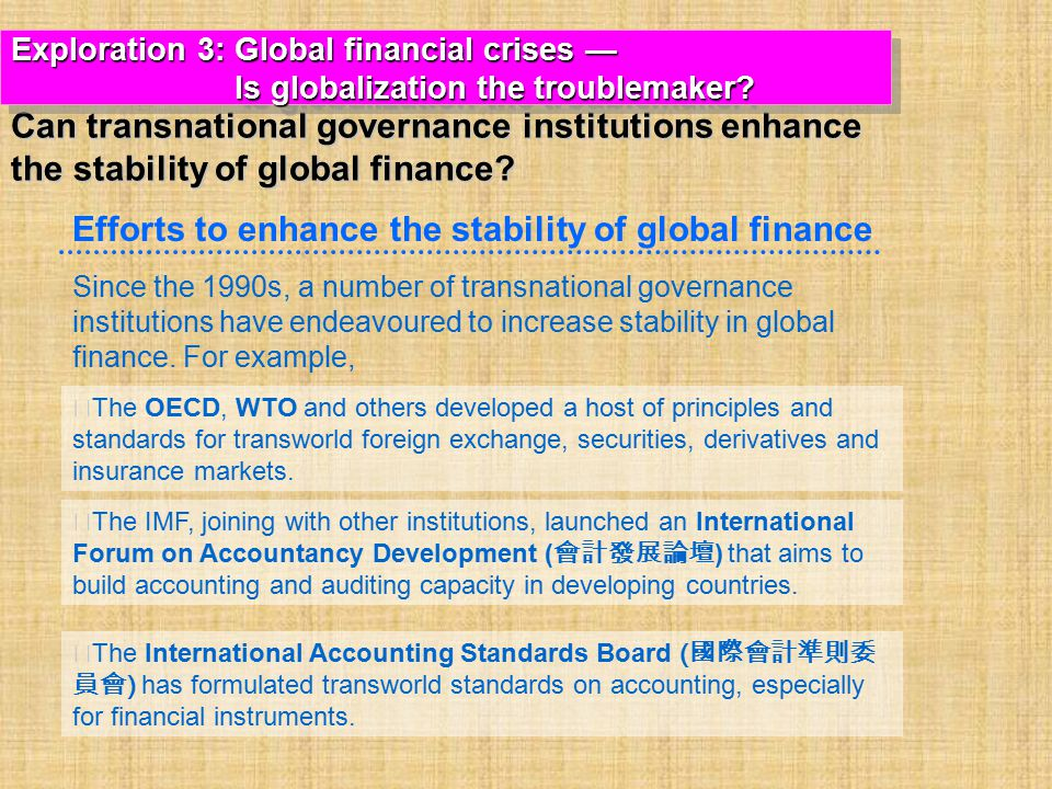 Since the 1990s, a number of transnational governance institutions have endeavoured to increase stability in global finance.