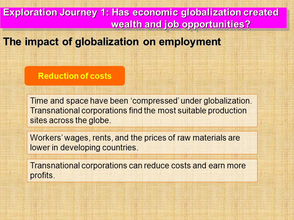 Reduction of costs Time and space have been 'compressed' under globalization.