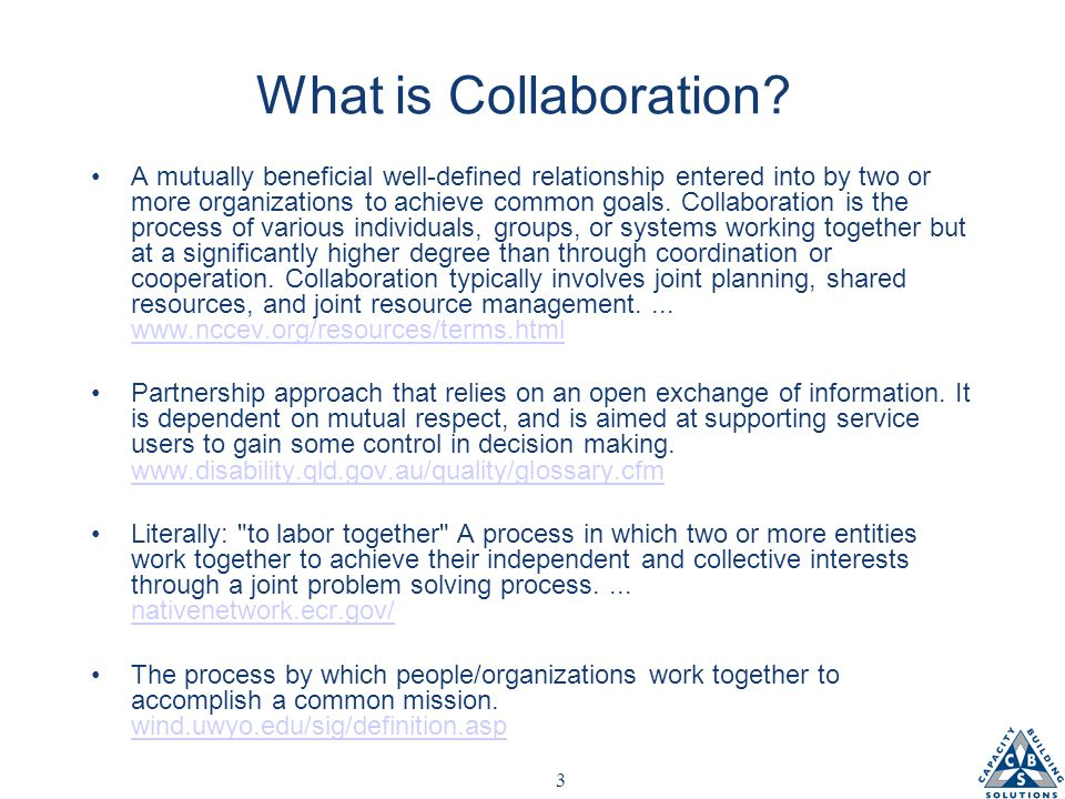 4 Why Collaborations Fail Lack of agreement/understanding of outcomes/goals Unclear roles/performance expectations Uneven sense of participation; free rider syndrome Uneven sense of benefit Colliding motivations Benefits fail to match expectations Bad Politics Power struggles; poorly defined decision making responsibilities Cultural tension/disconnect In effective leadership relationship building Ineffective communication No effective exit strategy Other?