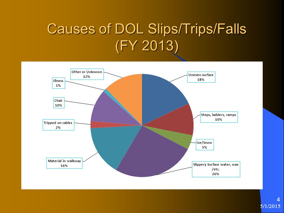 Causes of DOL Slips/Trips/Falls (FY 2013) 5/1/2015 4