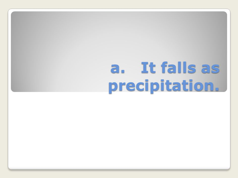 a. It falls as precipitation.