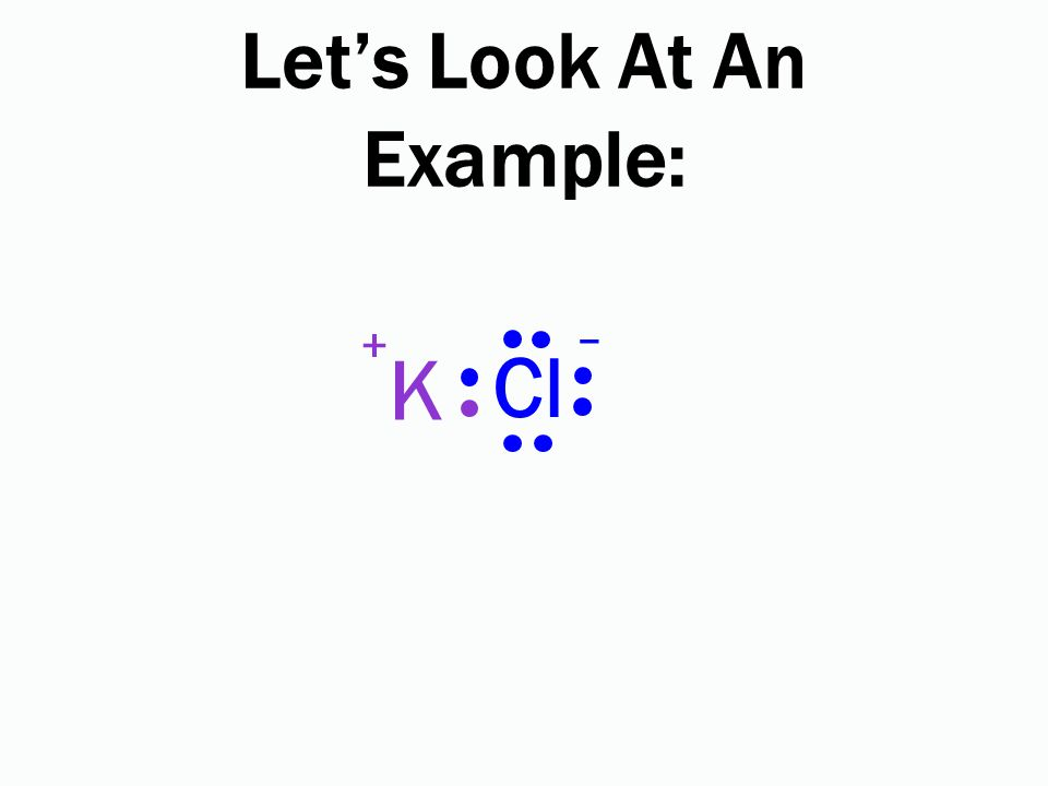 Let's Look At An Example: Cl K + –
