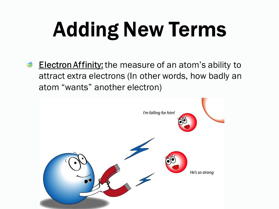 Adding New Terms Electron Affinity: the measure of an atom's ability to attract extra electrons (In other words, how badly an atom wants another electron)