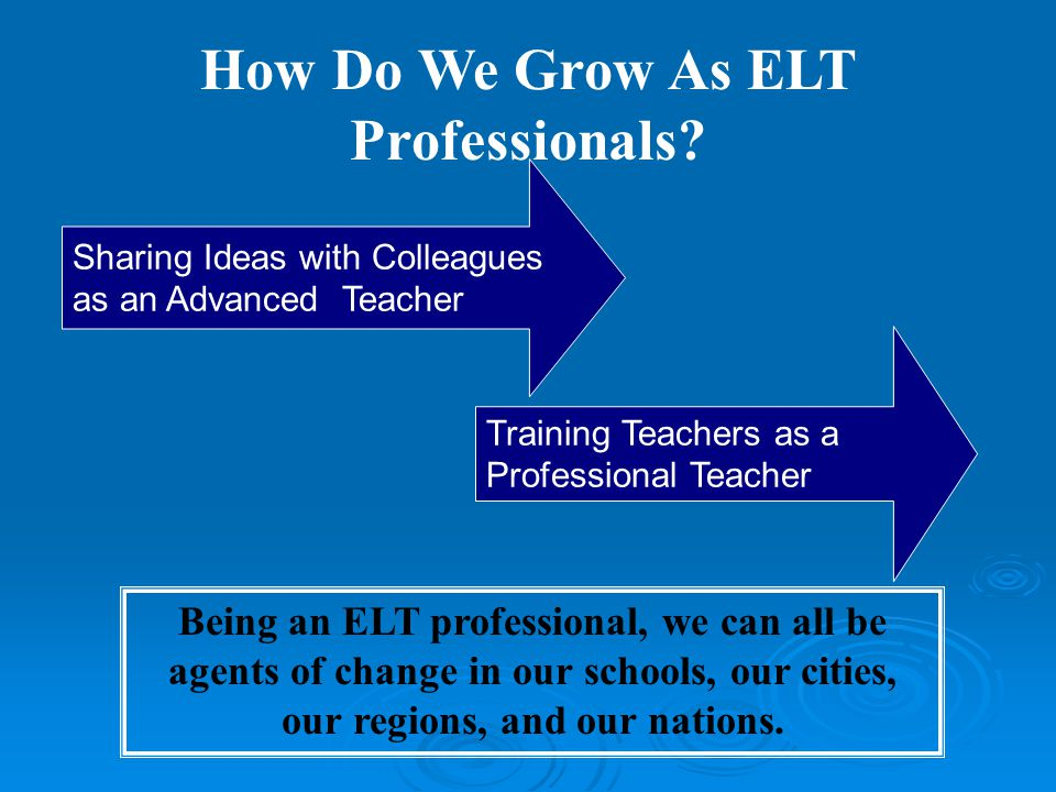 How Do We Grow As ELT Professionals.