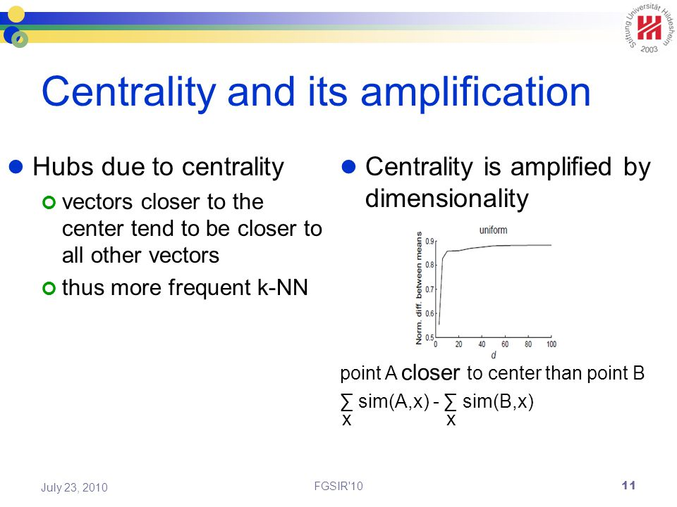 Centrality and its amplification Hubs due to centrality vectors closer to the center tend to be closer to all other vectors thus more frequent k-NN Centrality is amplified by dimensionality FGSIR 10 July 23, 2010 point A closer to center than point B ∑ sim(A,x) - ∑ sim(B,x) x x 11