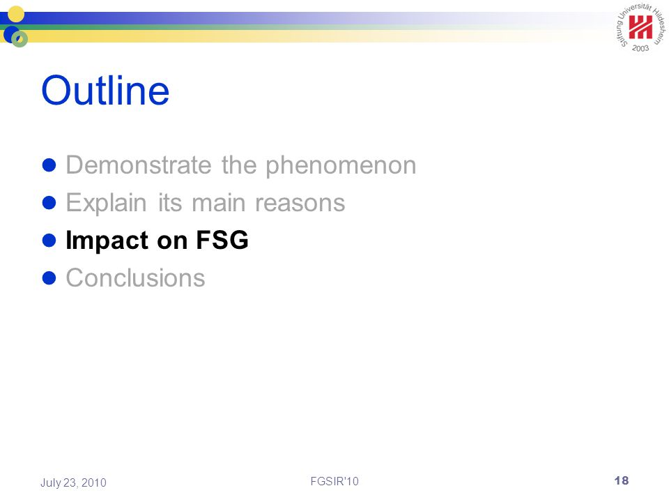 Outline Demonstrate the phenomenon Explain its main reasons Impact on FSG Conclusions FGSIR 10 July 23, 2010 18