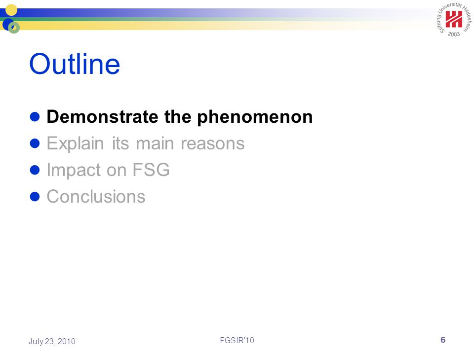 Outline Demonstrate the phenomenon Explain its main reasons Impact on FSG Conclusions FGSIR 10 July 23, 2010 6