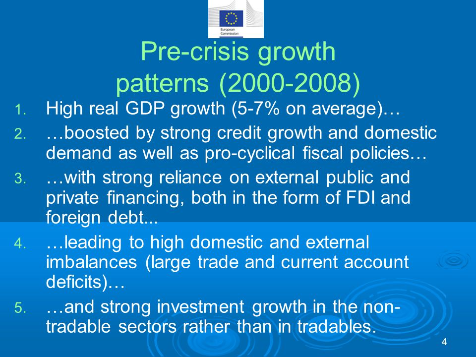 Pre-crisis growth patterns (2000-2008) 1. High real GDP growth (5-7% on average)… 2. …boosted by strong credit growth and domestic demand as well as p