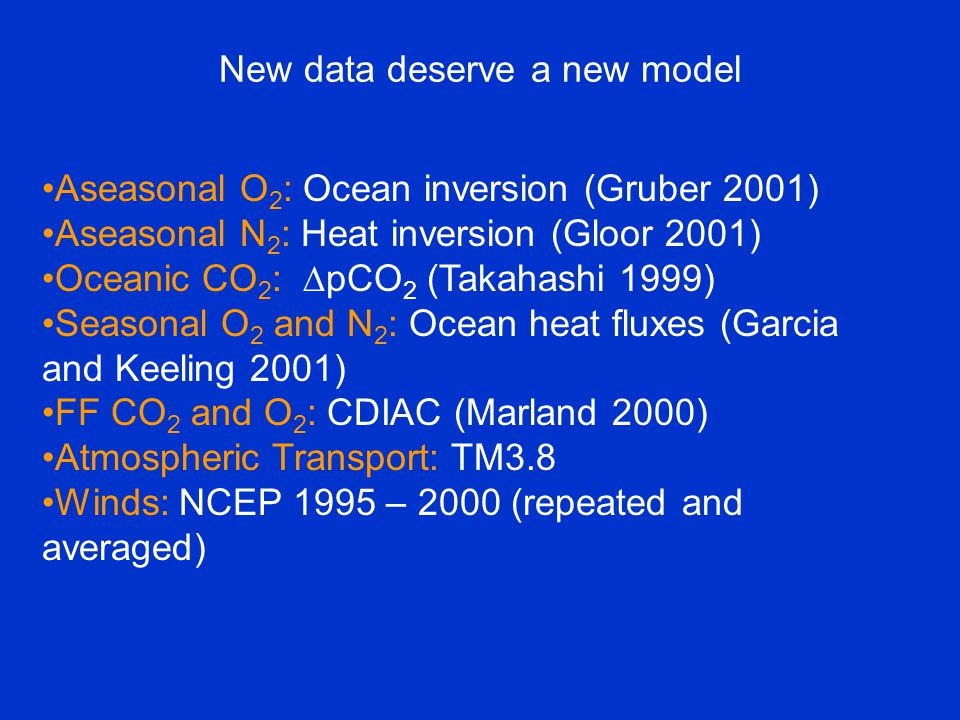 New data deserve a new model Aseasonal O 2 : Ocean inversion (Gruber 2001) Aseasonal N 2 : Heat inversion (Gloor 2001) Oceanic CO 2 :  pCO 2 (Takahashi 1999) Seasonal O 2 and N 2 : Ocean heat fluxes (Garcia and Keeling 2001) FF CO 2 and O 2 : CDIAC (Marland 2000) Atmospheric Transport: TM3.8 Winds: NCEP 1995 – 2000 (repeated and averaged)