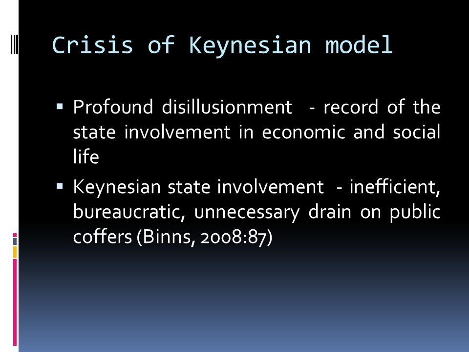 Crisis of Keynesian model  Profound disillusionment - record of the state involvement in economic and social life  Keynesian state involvement - inefficient, bureaucratic, unnecessary drain on public coffers (Binns, 2008:87)